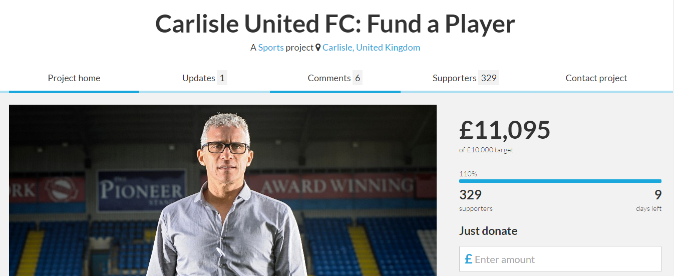SUPPORTERS DIRECT: Carlisle fans raise £11k in less than a week to fund new players